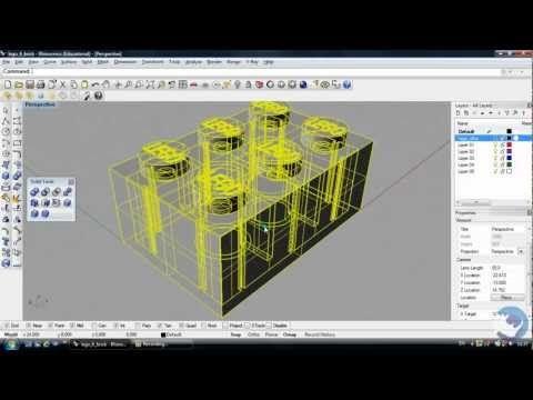 Rhino 3d Tutorial How To Create A Lego Brick Beginners Youtube