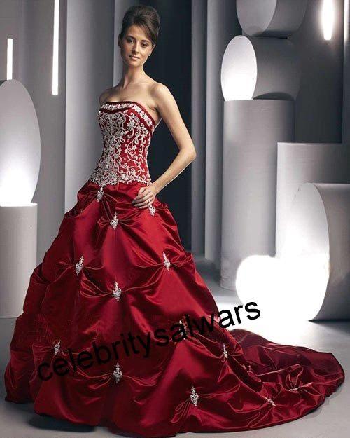 Celebrity Red Wedding Dresses