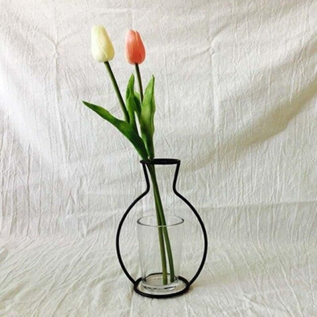 Photo of Nordic Abstract Creative Iron Flower Plant Vase Terrarium Container Artificial Flower Vase Wedding Party Decoration Home Decor – 5 whitout glass