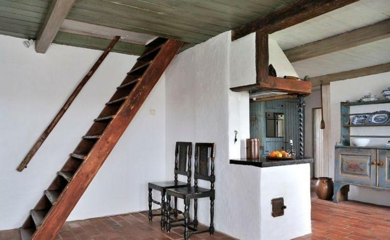 Escaleras rústicas de piedra y madera - más de 35 diseños fantásticos - - escaleras de madera rusticas