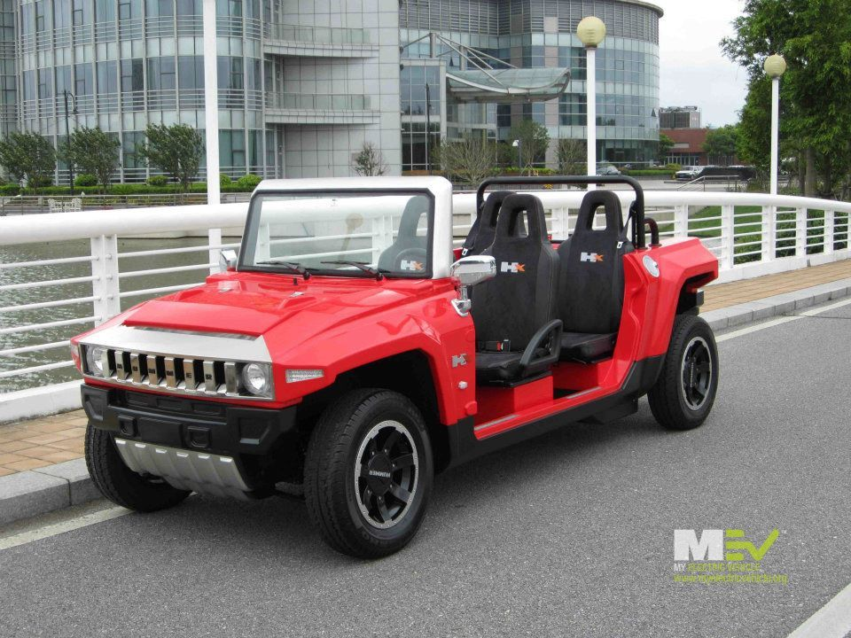 Mev Hummer Hx T Limo In Flat Red Luxury Electric Vehicle Golf Cart Resort Www Myelectricvehicle Org
