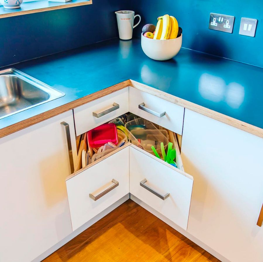 Clever Kitchen Corner Drawers Built With Birch Ply And Formica Laminates By Custom Furniture Designers Wood Work Corner Drawers Custom Furniture Kitchen Corner