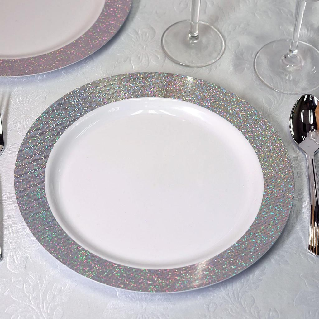 12 Pack 10 White Disposable Round Dinner Plates With Shiny Silver Dust Rim Plastic Party Plates Plastic Dinnerware Elegant Plastic Dinnerware