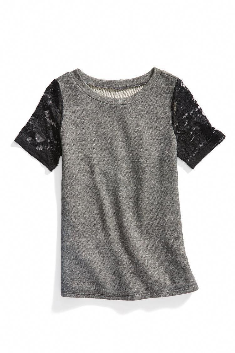**** Grey lace sleeve detail short sleeve top. Casual or dressy. Great look for everyday fashion. Stitch fix fashion trends. Stitch Fix Fall, Stitch Fix Spring Stitch Fix Summer 2016 2017. Stitch Fix Fall Spring fashion. #StitchFix #Affiliate #StitchFixInfluencer #women'sfallfashiontrendsstreetstyles #stitchfix