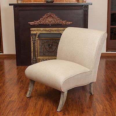 Best Set Of 2 Contemporary Beige Linen Armless Slipper Accent 400 x 300