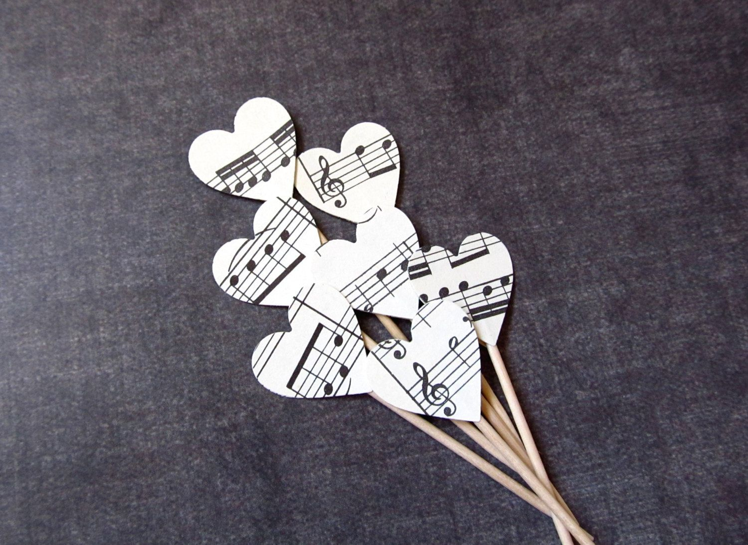Vintage Sheet Music Heart Cupcake Toppers, Party Decor, Weddings, Showers, Birthdays, Set of 15 - pinned by pin4etsy.com