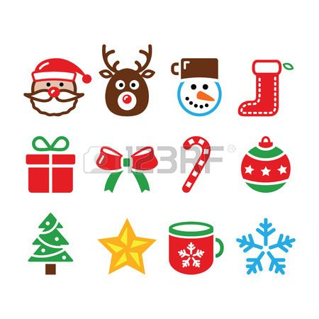 Xmas Vector Icons Set Isolated On White FEATURES Shapes All Groups Have Names Elements Are Easy To M
