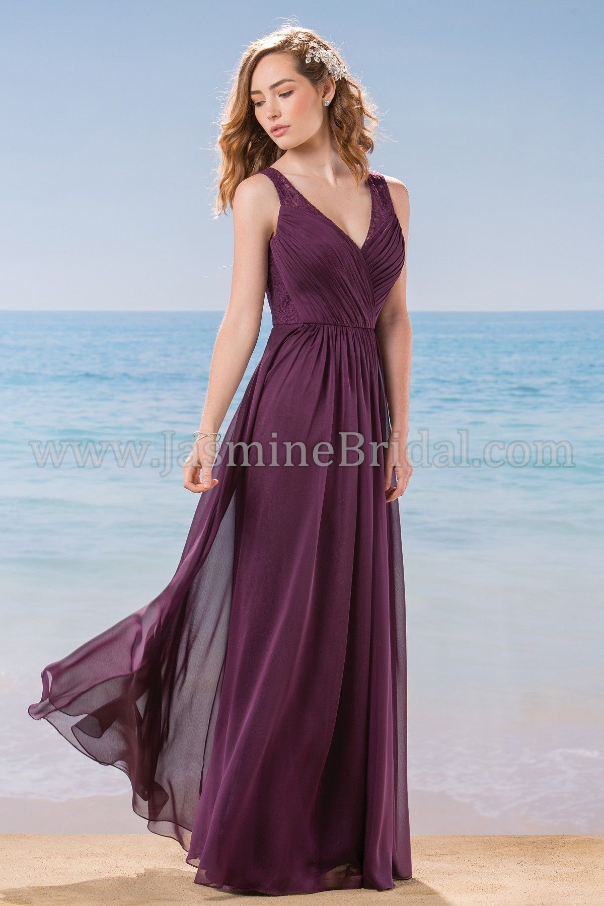Jasmine Bridal Bridesmaid Dress Belsoie Style L184016 in Bordeaux ...