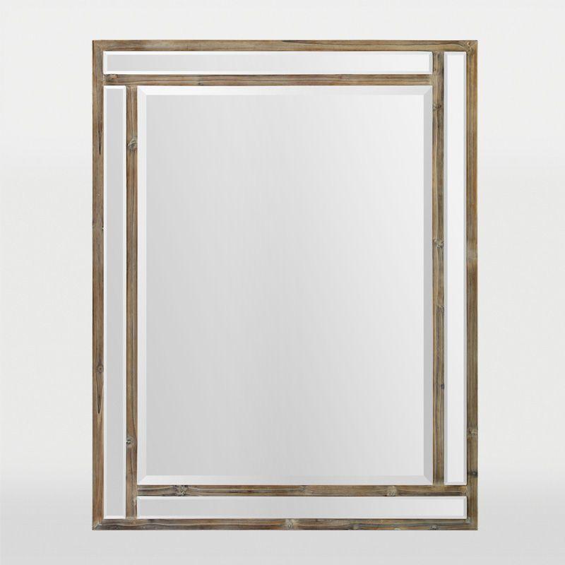 Un miroir rectangulaire  biseau dans un cadre de languettes de bois