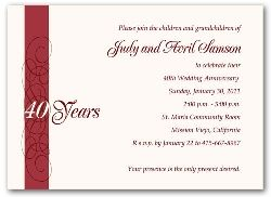 40th Wedding Anniversary Invitations Red Calligraphy 3600