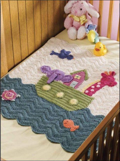 Noahs Ark Blanket Throw Crochet Pattern Ebay Crochet Throws