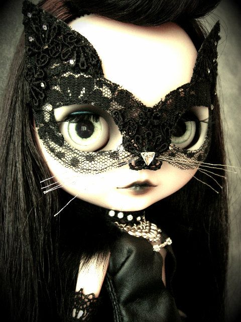 NoirBlytheLimited Halloween Black Cat Mask by NoirForTheDolls