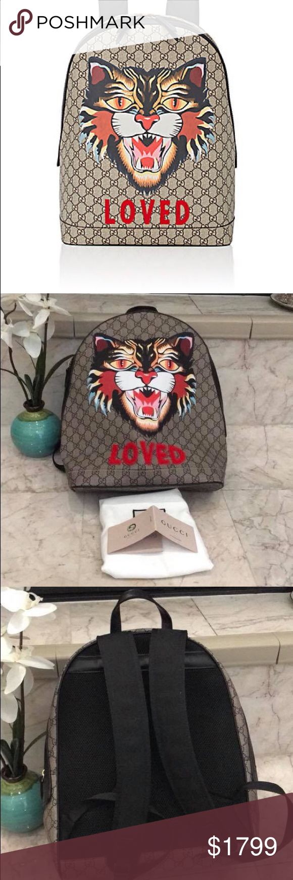 Gucci Cat-Print GG Supreme Backpack Crafted of beige and brown GG Supreme  logo- 8c0fc9bb7e3b