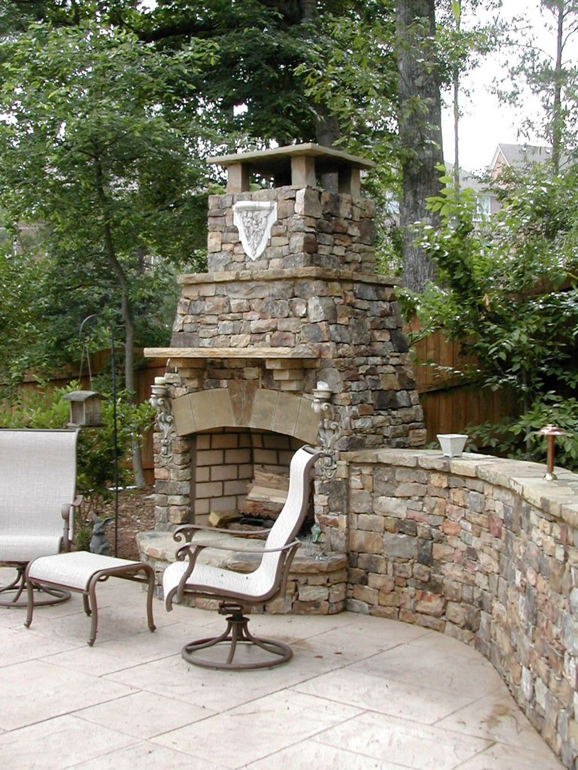 Outdoor Fireplace Retaining Wall