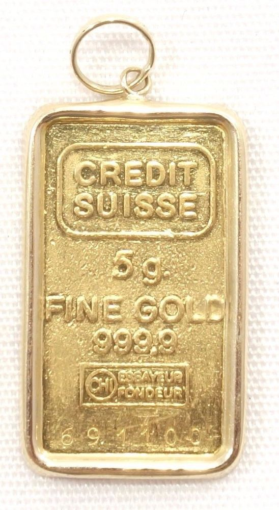 5 Gram Gold Bar Pendant 14k Bezel 999 Fine Gold Credit Suisse Necklace 691100 Gold Bar Pendant Bar Pendant Credit Suisse