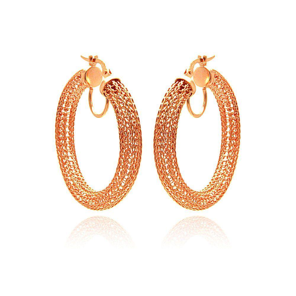 Rose Gold Over Sterling Silver .925 Hoop Earrings Ladies Jewelry 567-ite00039rgp