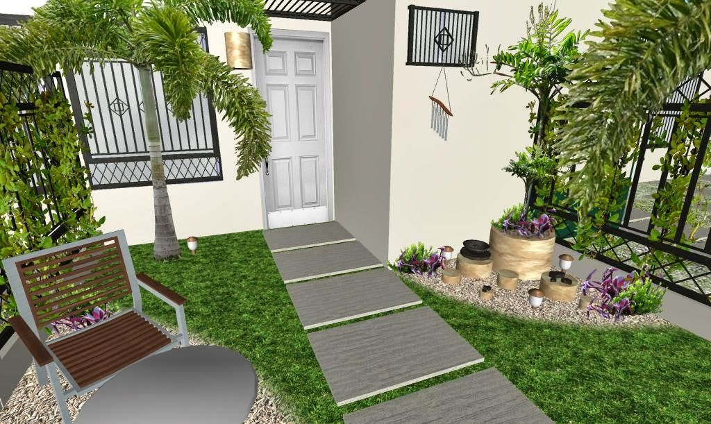 Dise o 3d jard n peque o fachada foto 3 jard n moderno for Disenos jardines pequenos modernos