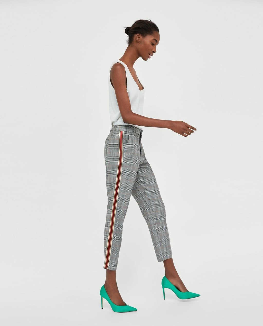eb917bef CHECKED TROUSERS WITH SIDE STRIPES-Smart-TROUSERS-WOMAN | ZARA United States