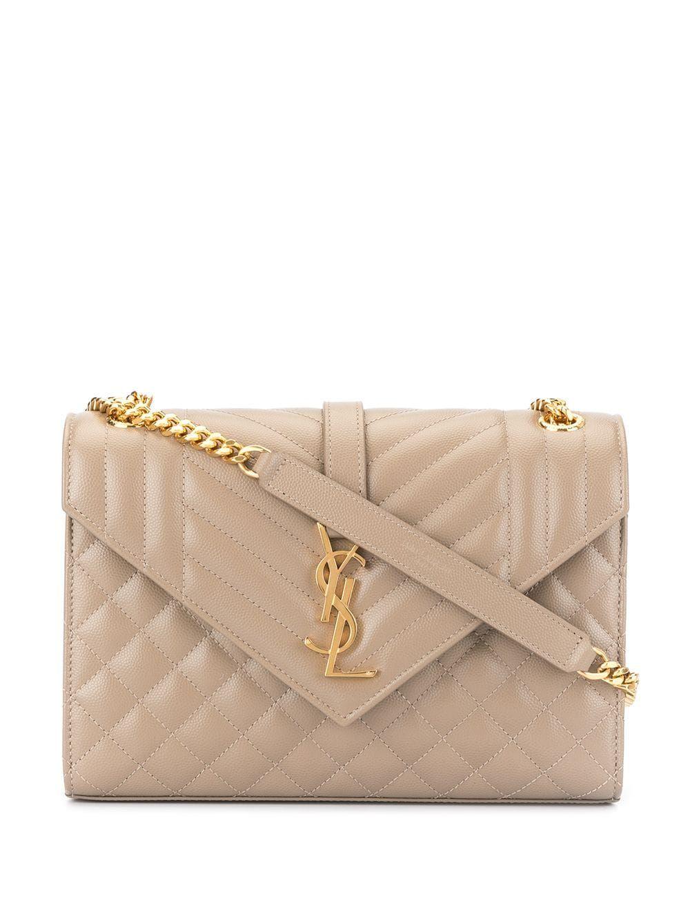 Saint Laurent Medium Envelope Shoulder Bag Grey With