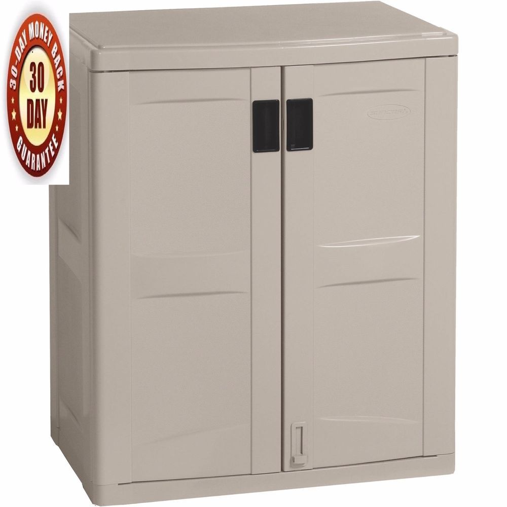 Outdoor Storage Cabinet Garage Base Box Patio Garden Tool Shed Deck Lockable #Suncast