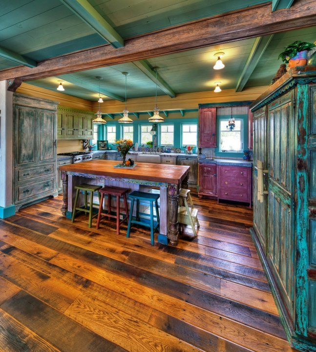 Cowboy Kitchen: Antique Barnboard Oak In A Beachfront Home In Florida