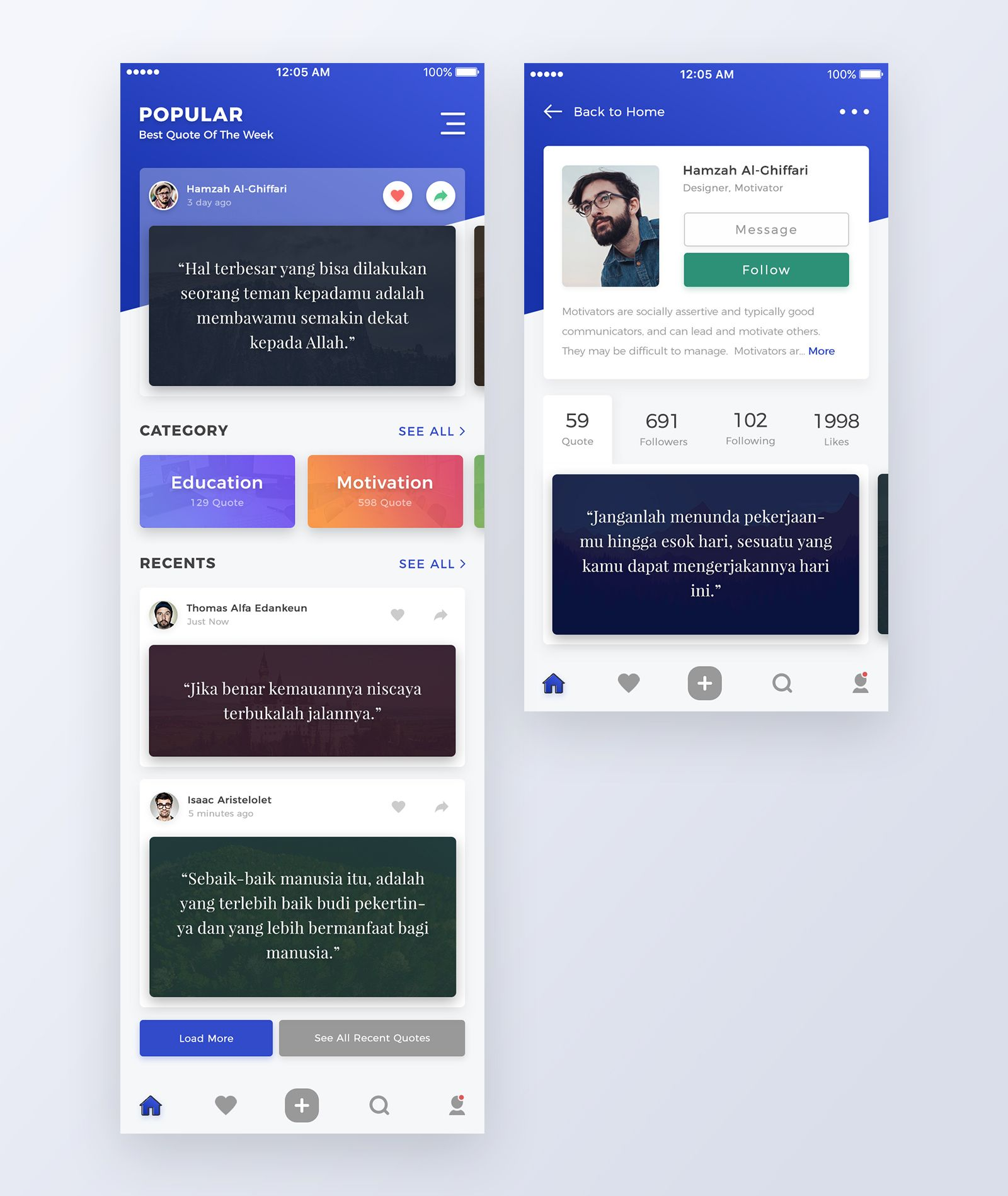 Mochrpratama Quoteapp Mobile App Templates App Design