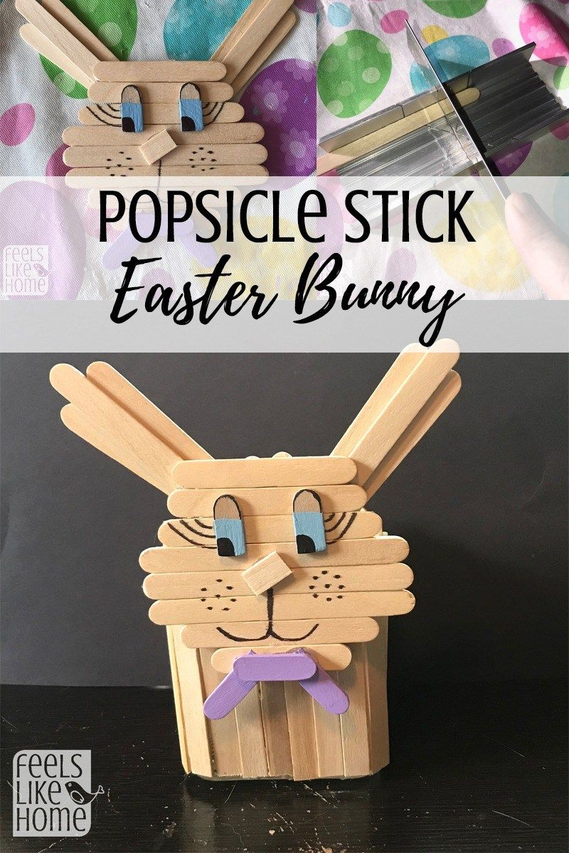 Cute popsicle stick easter bunny craft stick art pinterest