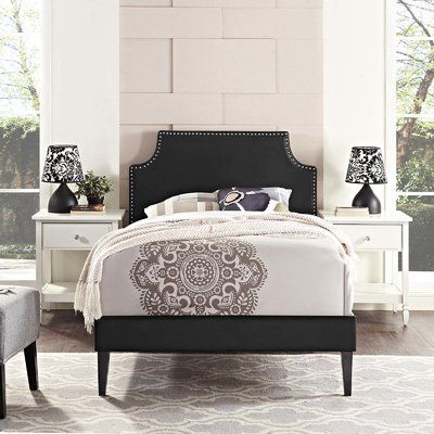 andover mills corene upholstered platform bed with squared tapered legs adjustable beds twin pink and grey teenage bedroom ideas