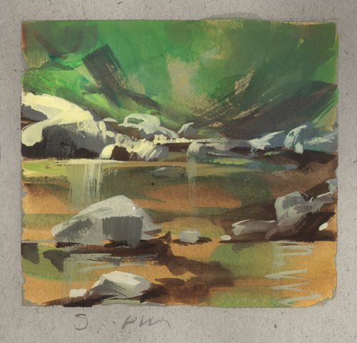 Land Sketch Big Tujunga Creek By Nathan Fowkes Gouache Art