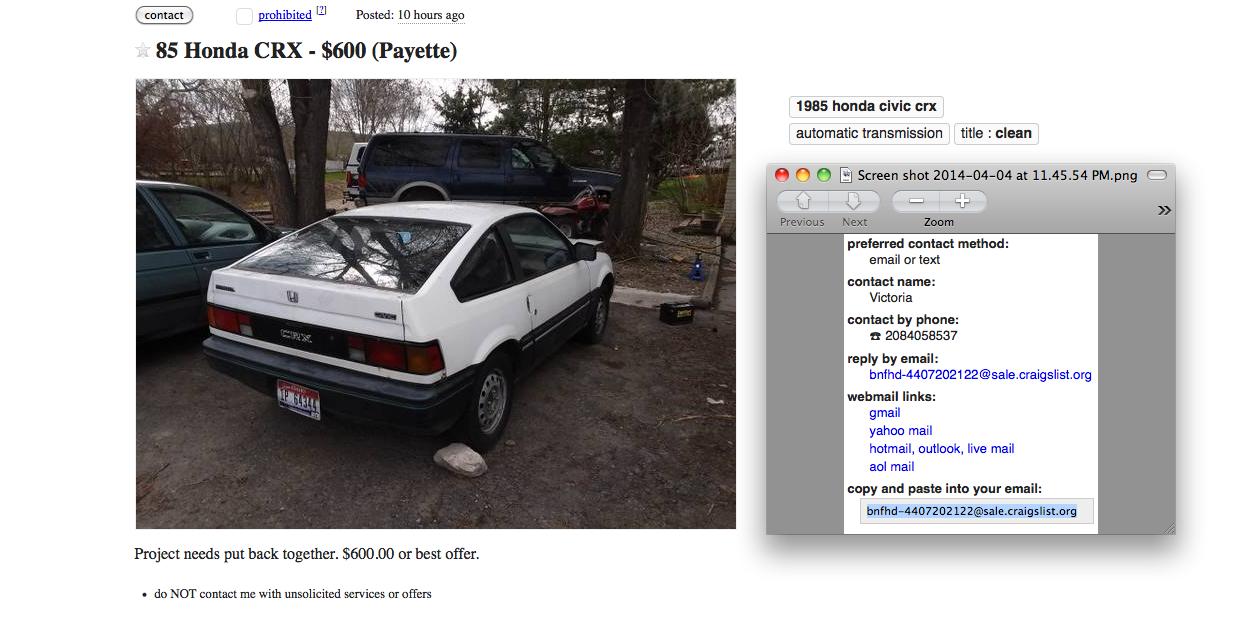 For Sale Cl 85 Honda Crx 600 Payette Near Boise Idaho Honda Crx Honda Honda Civic