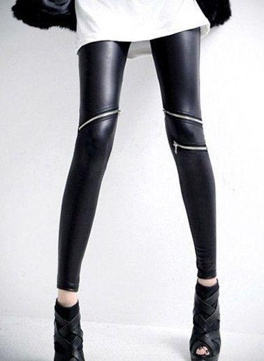 Zipper Detail Black Skinny PU Leggings