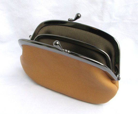 Leather Sectional Frame Purse Camel