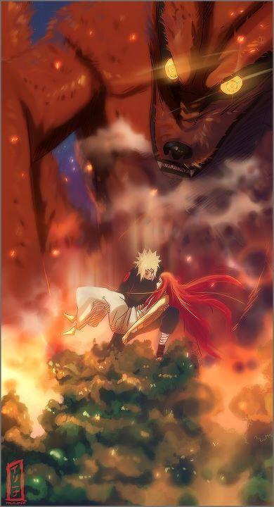 Minato Namikaze Kushina Uzumaki Kyubi Nine Tails Kurama Naruto Anime Naruto Shippuden Anime Naruto Minato Naruto