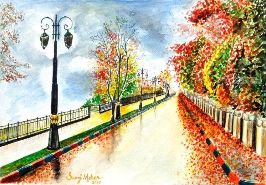 Title Landscape Artist Name Saroj Meher Description It Is A Watercolour Painting On Paper Art Form Pa Landscape Artist Landscape Art Landscape Paintings