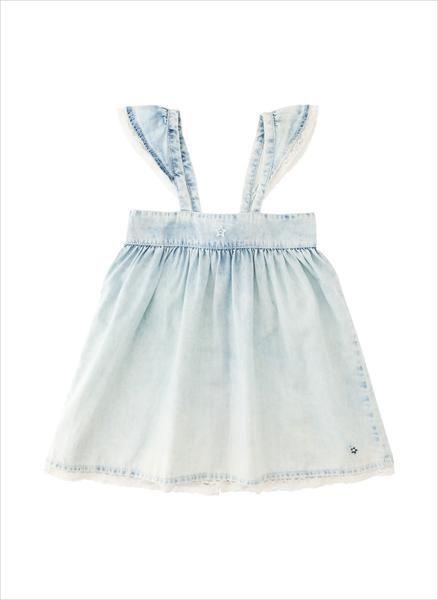 Tocoto Vintage Girls Denim Dress With Lace 100 Cotton Made In Portugal Girls Denim Dress Lace Dress Denim Dress