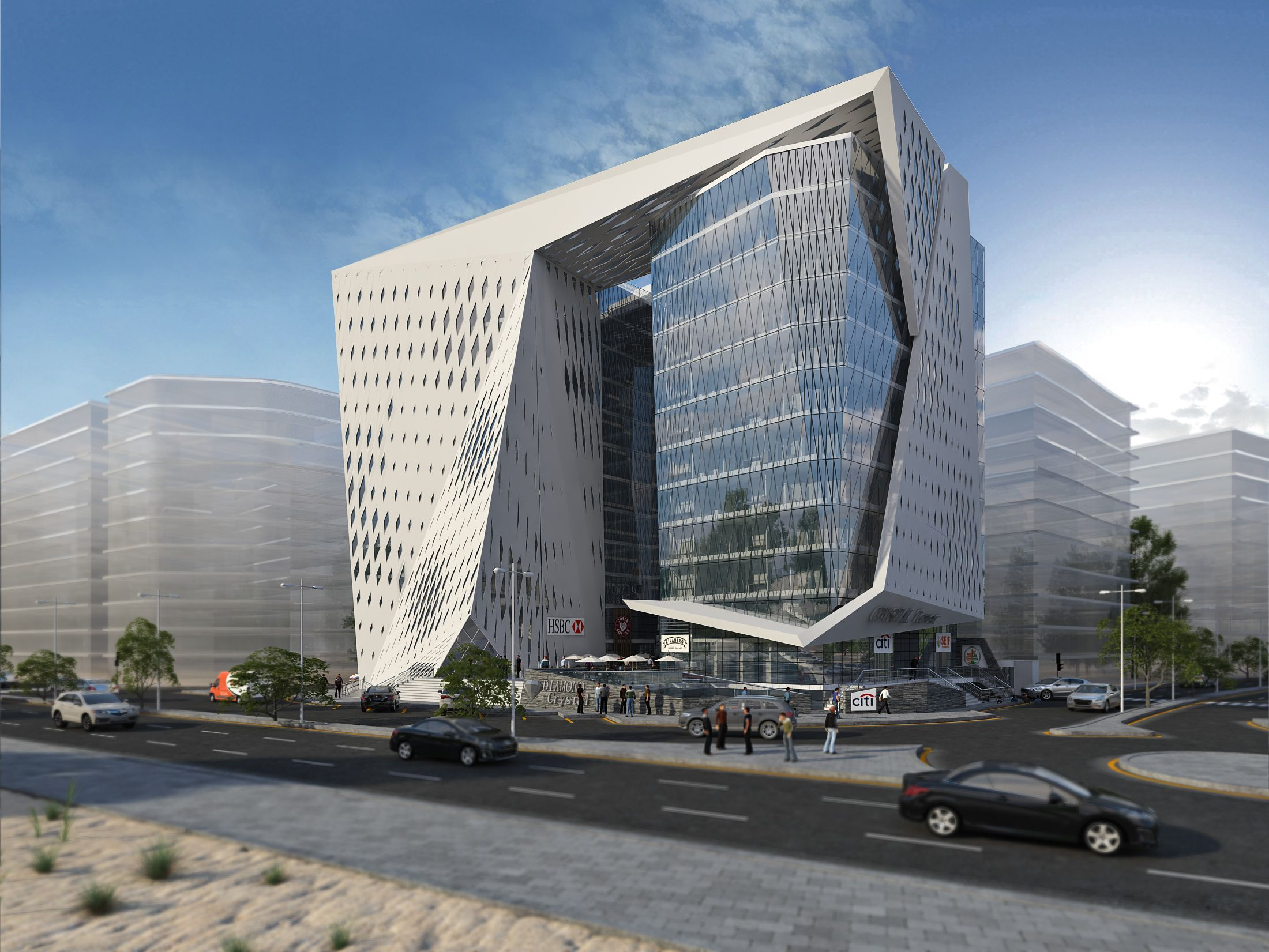 11 Stories Office Building Which Consist Of Clinics And Banks And Pharmacies In Office Building Architecture Facade Architecture Modern Architecture Building