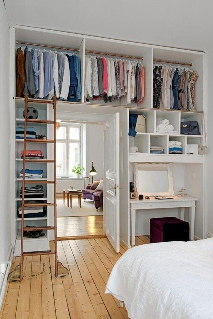 dressing chambre adulte fille sol en parquet clair mur et plafond blanc home small space. Black Bedroom Furniture Sets. Home Design Ideas