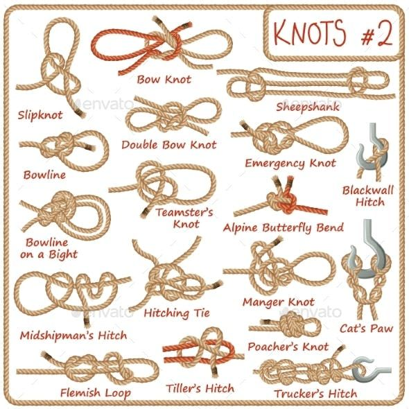 Set of Rope Knots, Hitches, Bows and Bends - Miscellaneous Vectors #ropeknots