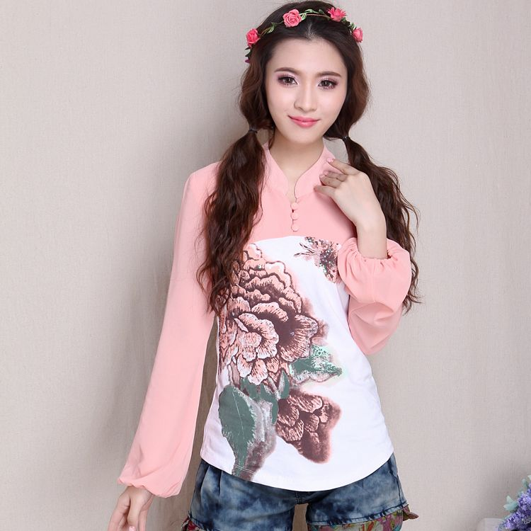 Fascinating Cheongsam Style Chiffon Sleeve Blouse - Chinese Shirts & Blouses - Women