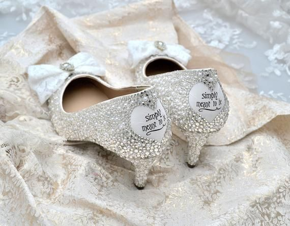 Swarovski pearl white silver crystal encrusted lace vintage bow embellished decal heart wedding Bridal mid heel court shoes #pictureplacemeant