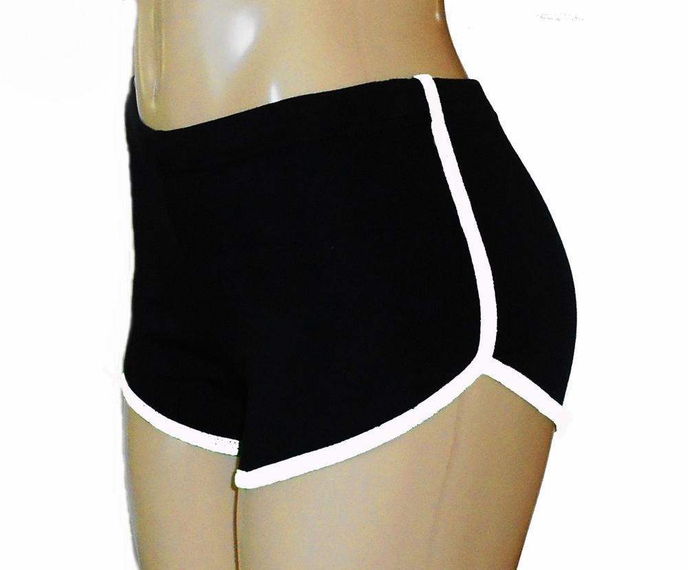 Details about Black Retro Running Shorts with White Trim Small ...