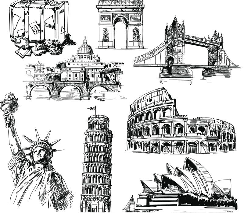 Hand Drawn Landmarks Vector With Images Architecture Drawing