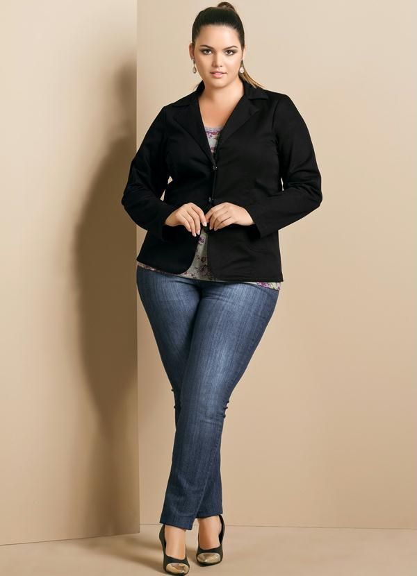 f818dd4735 Blazer Feminino Plus Size Preta - Quintess