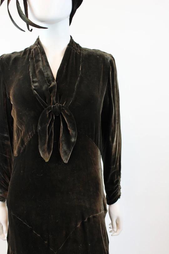 1920s 1930s silk velvet dress small medium | vintage flapper dress | new in