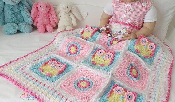 Crochet Pattern Kerrys Owl Blanket Crochet Owl Blanket Pattern