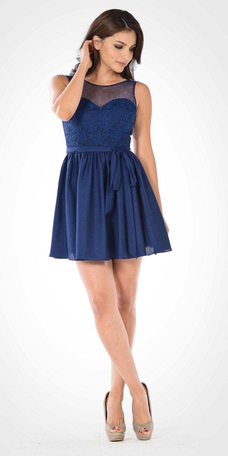 Illusion Lace Bodice Sleeveless Homecoming Short Dress Off White