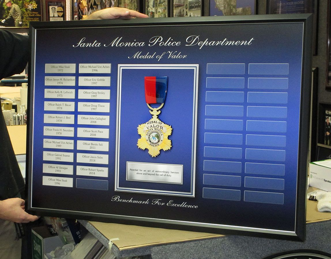 Santa Monica PD - Medal of Valor Perpetual Plaque from Badge Frame ...
