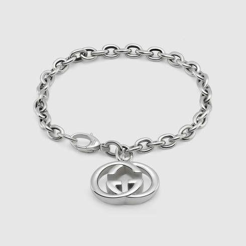 2ea9f3ee9094 Bracelet with interlocking G charm - Gucci Silver Bracelets 190501J84008106