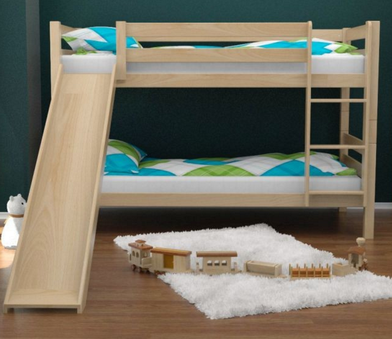 Wooden loft bed with slide  Aiden Natural Bunk Bed with Slide  Pinterest  Bunk bed and Products