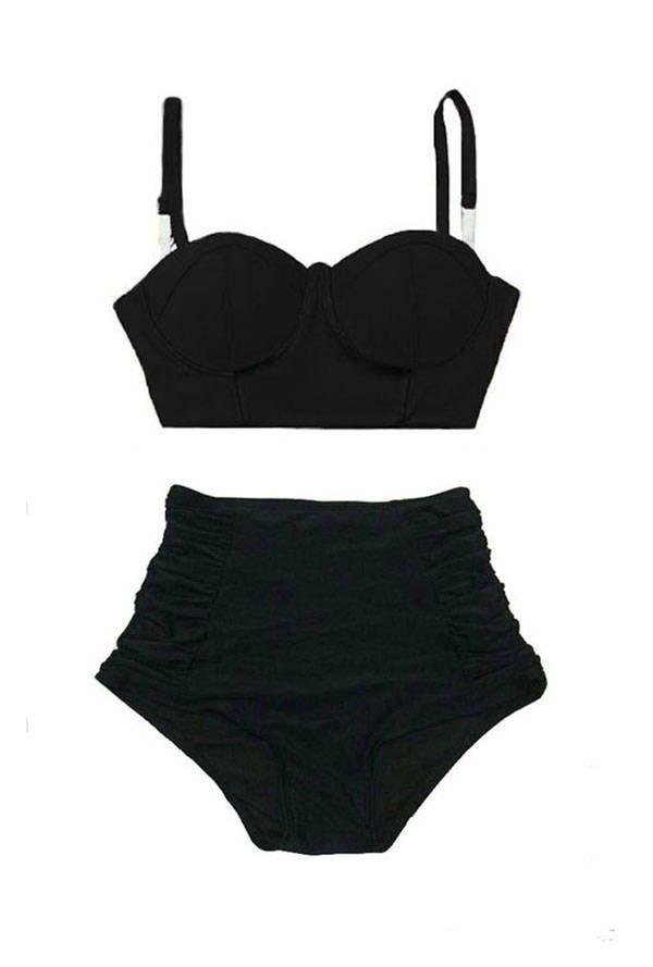 High Waist Waisted Rise Bikini Set Two Piece Swimsuit